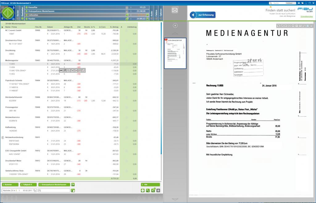 FIBUscan - Übersicht der offenen Posten (hier Lieferanten) mit Zahlungsziel etc.
